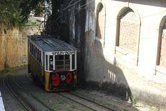 The arrival of Lavra Funicular in Lisbon - stock photo