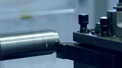 turning lathe – Machine working with metal - stock footage