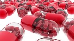 Colorful capsules with vitamins and minerals. Tracking camera. 3d. - stock footage