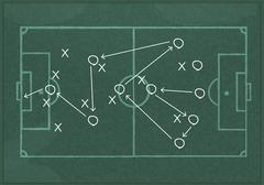 Stock Illustration of Realistic blackboard drawing a soccer game strategy.