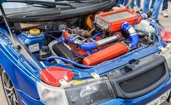Tuned turbo car engine of Lada closeup Stock Photos