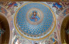 The painting on the dome of the Naval Cathedral of Saint Nicholas Stock Photos