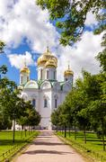 Orthodox Catherine's Cathedral in Pushkin town - stock photo