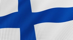 Flag of Finland is developing waves. Looped. Full HD 1080. Stock Footage