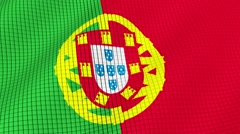 The flag of Portugal is developing waves. Looped. Full HD 1080. - stock footage