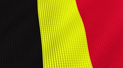 Flag of Belgium is developing waves. Looped. Full HD 1080. Stock Footage