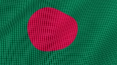 Flag of Bangladesh is developing waves. Looped. Full HD 1080. Stock Footage