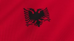The flag of Albania is developing waves. Looped. Full HD 1080. Stock Footage