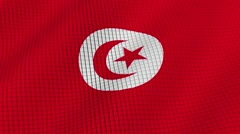 The flag of Tunisia is developing waves. Looped. Full HD 1080. - stock footage