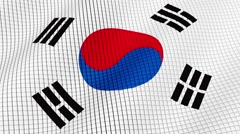 Flag of South Korea is developing waves. Looped. Full HD 1080. Stock Footage