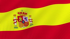 The flag of Spain is developing waves. Looped. Full HD 1080. Stock Footage