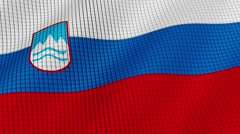 The flag of Slovenia is developing waves. Looped. Full HD 1080. Stock Footage