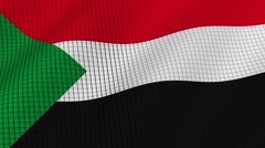 The flag of Sudan is developing waves. Looped. Full HD 1080. Stock Footage