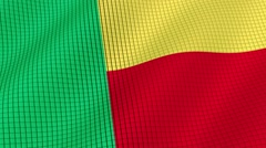 Flag of Benin is developing waves. Looped. Full HD 1080. Stock Footage