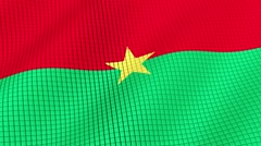 Flag of Burkina Faso is developing waves. Looped. Full HD 1080. - stock footage