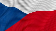 Flag of Czech Republic is developing waves. Looped. Full HD 1080. Stock Footage