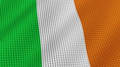 Flag of Ireland is developing waves. Looped. Full HD 1080. Stock Footage