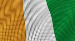 The flag of Ivory Coast is developing waves. Looped. Full HD 1080. Stock Footage
