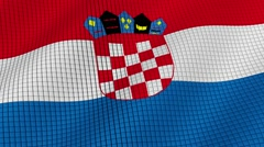 Flag of Croatia is developing waves. Looped. Full HD 1080. Stock Footage