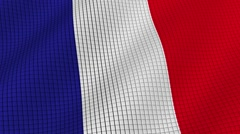 The flag of France is developing waves. Looped. Full HD 1080. Stock Footage
