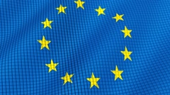 The flag of the European Union is developing waves. Looped. Full HD 1080. Stock Footage