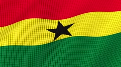 The flag of Ghana is developing waves. Looped. Full HD 1080. Stock Footage