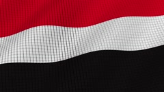 Flag of Yemen is developing waves. Looped. Full HD 1080. Stock Footage