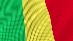 The flag of Mali is developing waves. Looped. Full HD 1080. Stock Footage