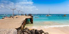 Santa Maria beach pontoon in Sal Island Cape Verde - Cabo Verde - stock photo