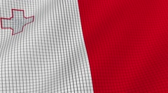 Flag of Malta is developing waves. Looped. Full HD 1080. - stock footage