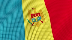 The flag of Moldova is developing waves. Looped. Full HD 1080. Stock Footage