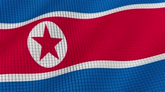 Flag of North Korea is developing waves. Looped. Full HD 1080. Stock Footage