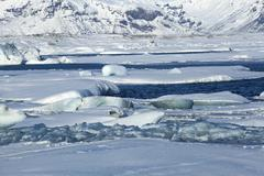 Global warming at glacier lagoon Jokulsarlon, Iceland - stock photo