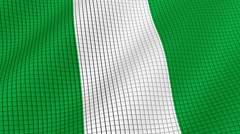 The flag of Nigeria is developing waves. Looped. Full HD 1080. - stock footage