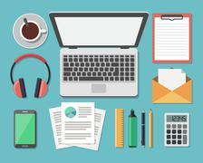 Business Work Flow Items and Gadgets Stock Illustration