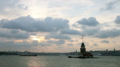 Istanbul Maiden's Tower Stock Footage