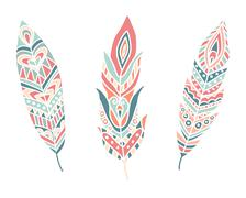 Ethnic Feathers. Hand Drawn Design Elements Stock Illustration