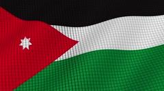 The flag of Jordan is developing waves. Looped. Full HD 1080. Stock Footage