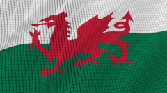 The flag of Wales is developing waves. Looped. Full HD 1080. Stock Footage