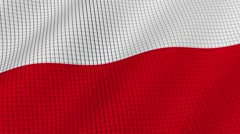 Flag of Poland is developing waves. Looped. Full HD 1080. Stock Footage