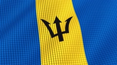 Flag of Barbados is developing waves. Looped. Full HD 1080. Stock Footage