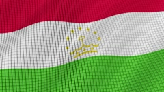 The flag of Tajikistan is developing waves. Looped. Full HD 1080. - stock footage