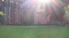 4k Chester cathedral old English church buildings with sun rising over - stock footage
