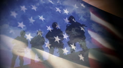 US Military Forces in Front of Flag Stock Footage