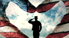 US Military Salute Heart Hands Stock Footage