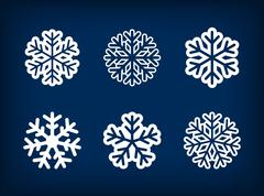 Stock Illustration of Set of winter snowflake vector illustration