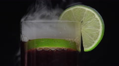 Cuba libre and dry ice smoke Stock Footage