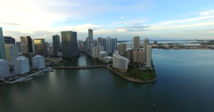 Aerial Brickell Miami at dusk 3 Stock Footage