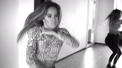 Beautiful athletic girl dancing. Black and white Stock Footage
