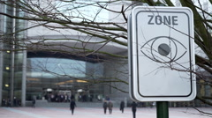 Guarded area at the European Parliament Stock Footage